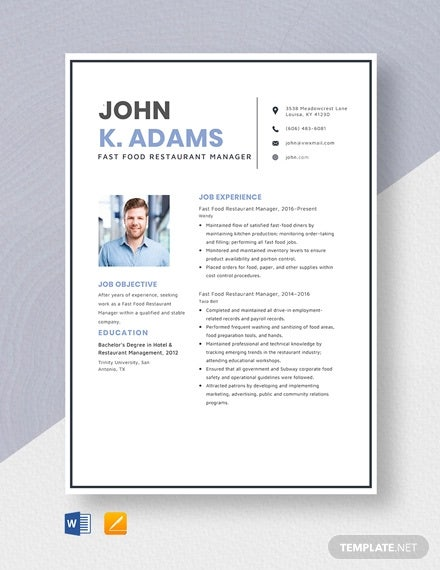 fast food restaurant manager resume template