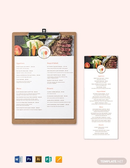 fine food dining menu template