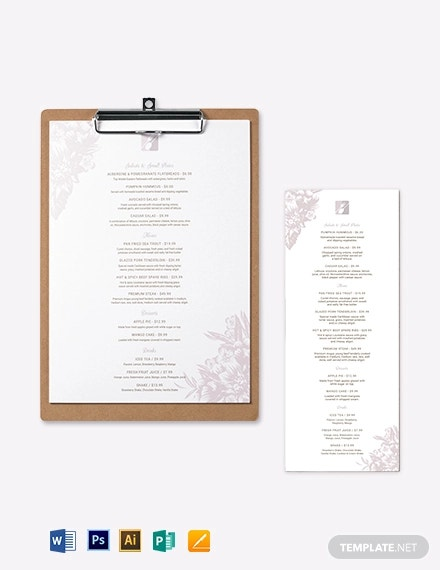 fine restaurant dining menu template
