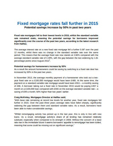 fixed rate mortgage potential saving