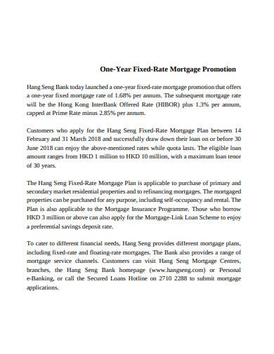 fixed rate mortgage promotion