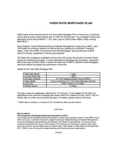 fixed rated mortgage plan