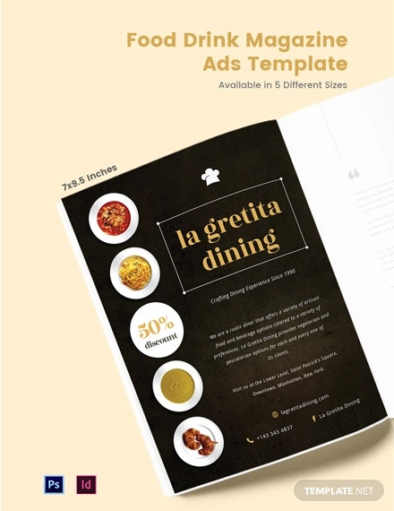 food drink magazine ads template