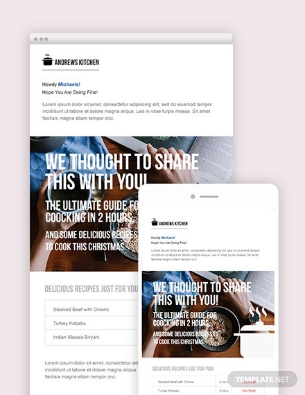food email ad template