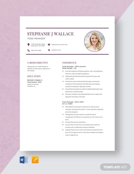 food manager resume template