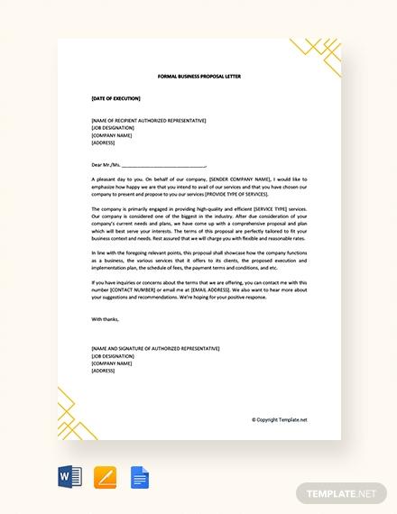 formal business proposal letter