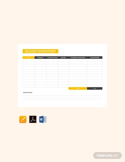 free access inventory template