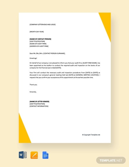 free auditor appointment letter