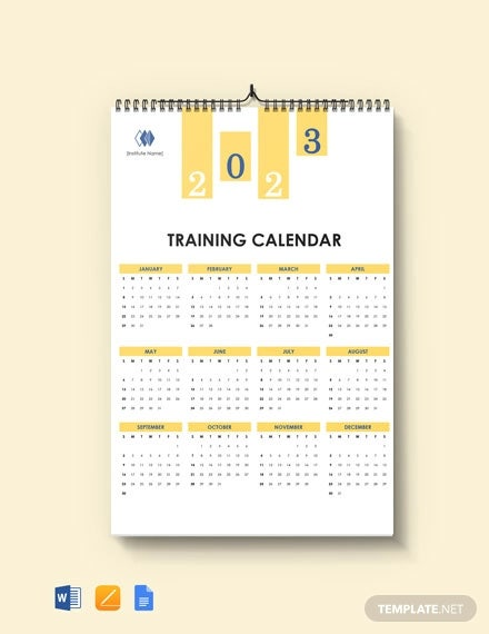 free blank training desk calendar template