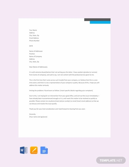 free business complaint letter template