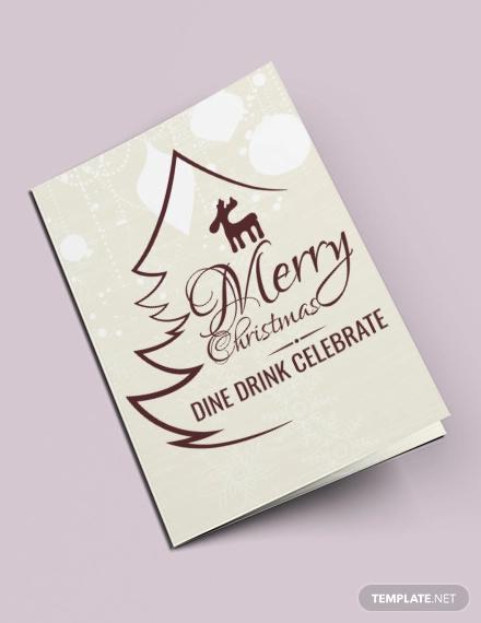 free christmas restaurant bi fold brochure template