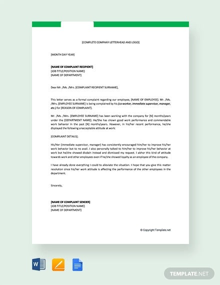 free complaint letter against employee