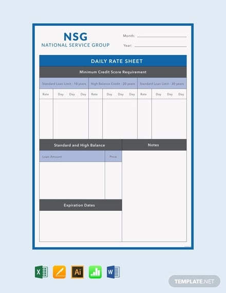 free daily rate sheet template