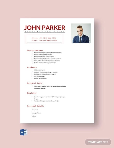free doctor assistant resume template1