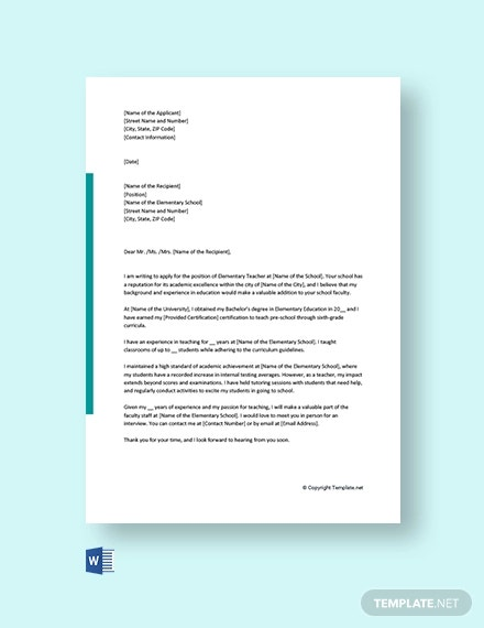 free elementary teacher cover letter