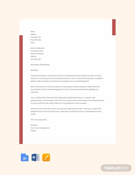 Letter To Hr Complaint from images.template.net