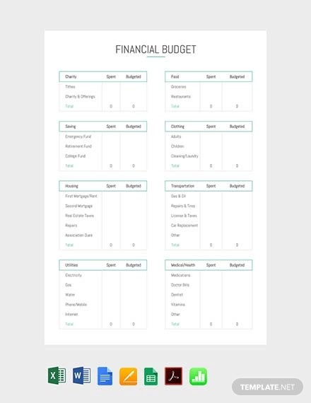 free financial budget template