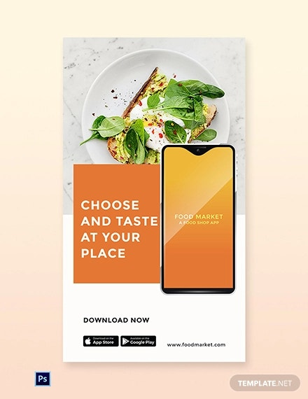 free food mobile app promotion whatsapp image template