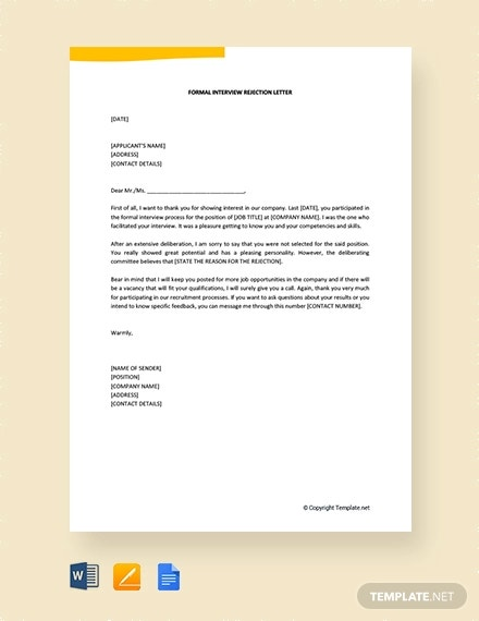 free formal interview rejection letter