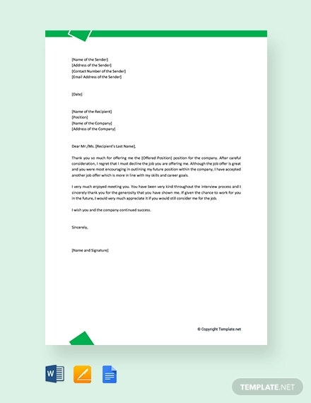 free formal rejection letter for job offer