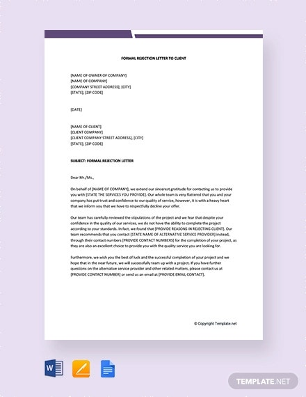 free formal rejection letter to client