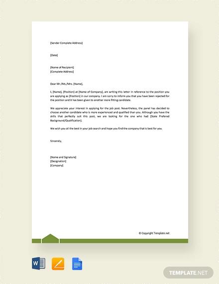 free formal rejection letter
