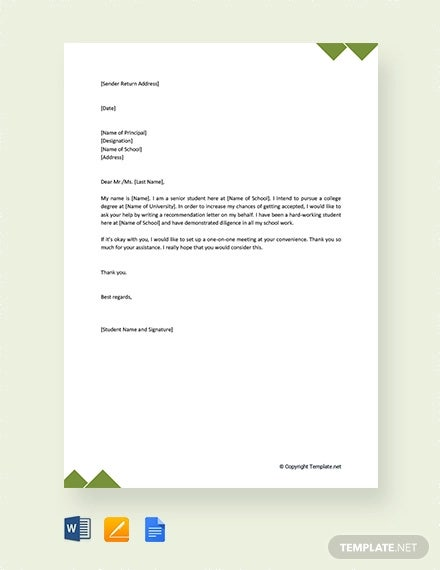free formal request letter to principal