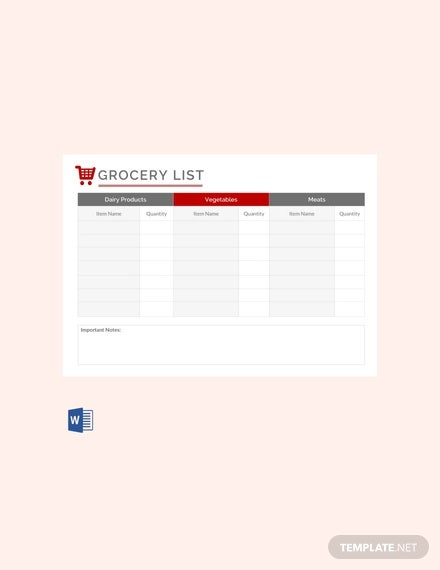 free grocery list template
