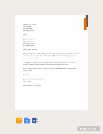 free guarantee letter sample