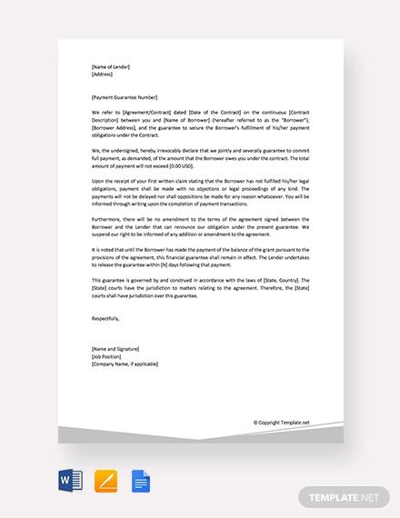 free guarantee letter