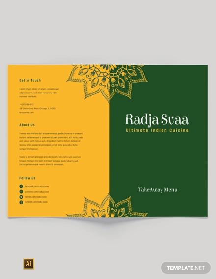 free indian restaurant take out bi fold brochure template1