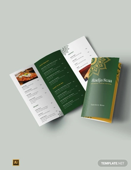 free indian restaurant take out tri fold brochure template