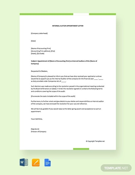 Auditor Appointment Letter Templates 10 Free Word Pdf Format