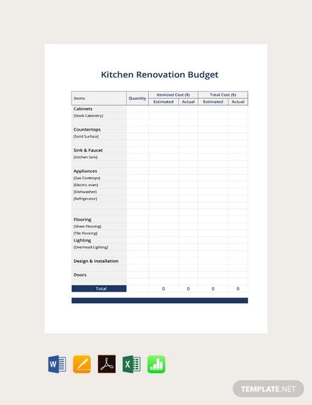 free kitchen renovation budget template