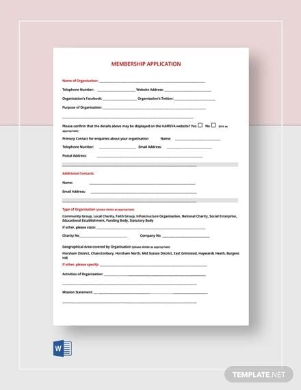 free membership application form1