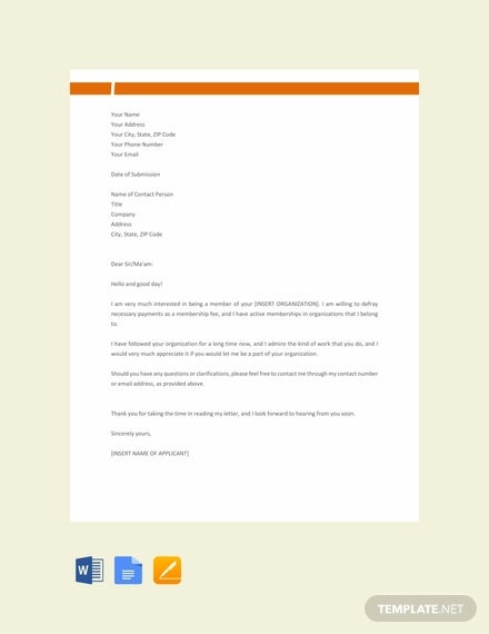 free membership application letter template1