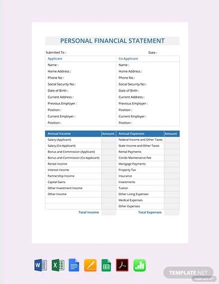free personal financial statement template