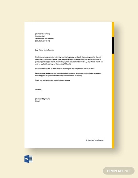 Landlord Letter To Raise Rent from images.template.net
