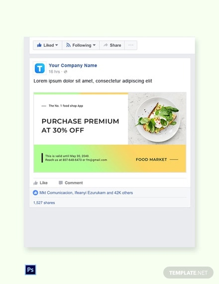 free restaurant app promotion facebook post template