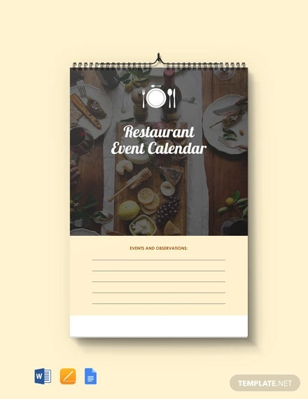 free restaurant event desk calendar template