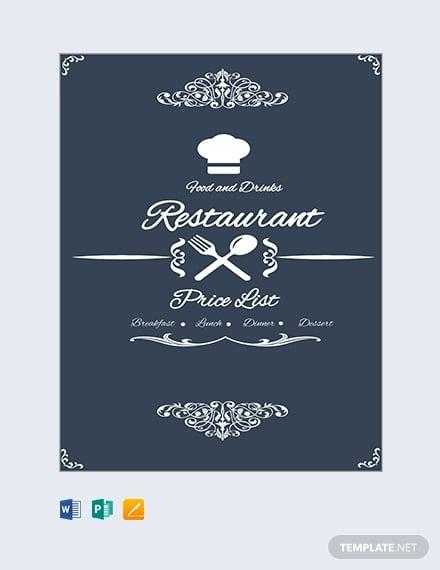 free restaurant menu price list