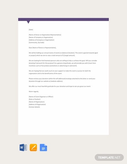 free sample donation request letter for non profit