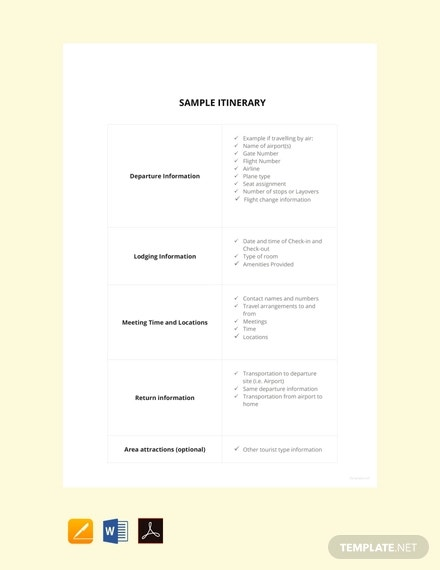 free sample itinerary template
