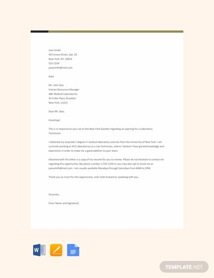 free sample lab technician resume cover letter template