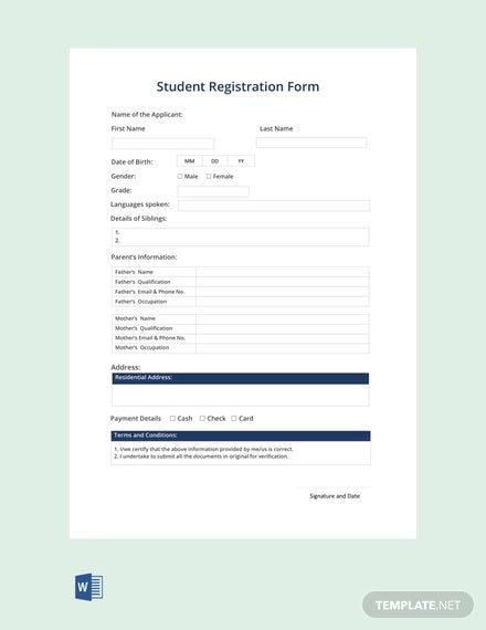 free student registration form template