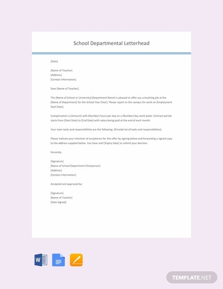 free teacher job offer letter template