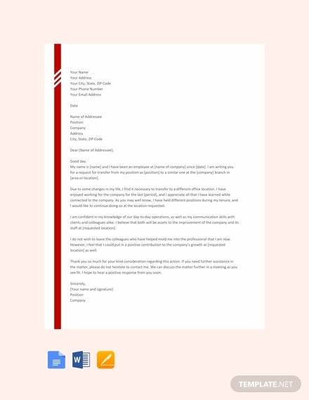 free transfer letter from one location to other template