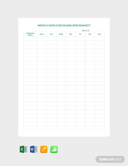 free weekly employee blank spreadsheet template