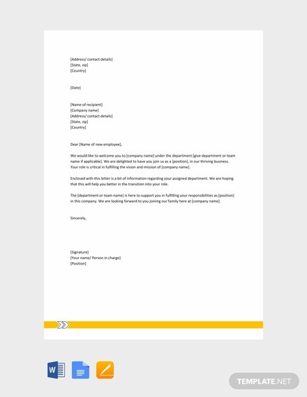 free welcome letter to a new employee template