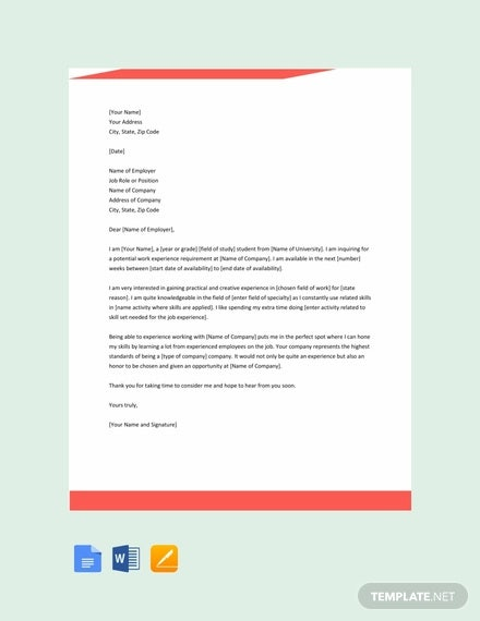 13 Work Experience Letter Templates Pdf Word Free Premium Templates